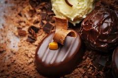 Chocolate pralines close up Stock Photos