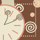 Chocolate background with round clock and arrows Stock Images