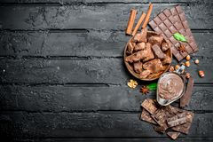 Chocolate Background. Various Assortment Of Chocolate With Paste Royalty Free Stock Photo