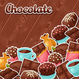 Chocolate background with various tasty sweets and Stock Images