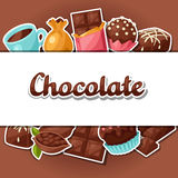 Chocolate background with various tasty sweets and Royalty Free Stock Photography