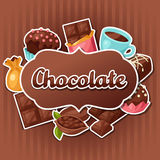 Chocolate background with various tasty sweets and Royalty Free Stock Photos