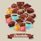 Chocolate background with various tasty sweets and Stock Photo
