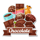 Chocolate background with various tasty sweets and Stock Photography