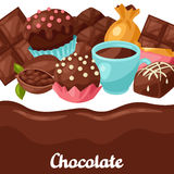 Chocolate background with various tasty sweets and Royalty Free Stock Photo