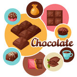 Chocolate background with various tasty sweets and Royalty Free Stock Images