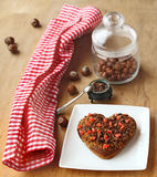 Chocolate heart cookies and hazel Stock Image