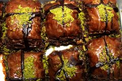 Chocolate Baklava Dessert stock photos