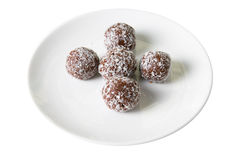 Chocolate ball cakes at plate Royalty Free Stock Image