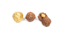 Chocolate ball candy isolated on white background Royalty Free Stock Image