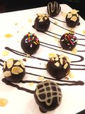 Chocolate ball. Creamy chocolate ball with walnut Stock Photos