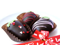 Chocolate ball decorated with colorful sugar Stock Images