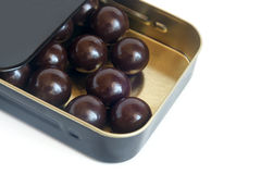 Chocolate balls in box Stock Images