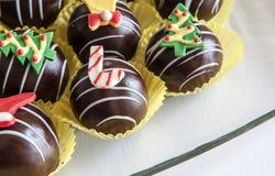 Chocolate balls Christmas. Tree snowman deer royalty free stock images