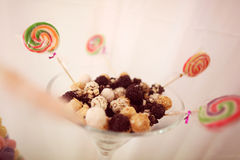 Chocolate balls with colorful candy Royalty Free Stock Photos