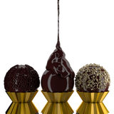Chocolate balls. 3d set chocolate ball on white background Stock Photo
