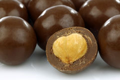 Chocolate balls filled with hazelnuts Royalty Free Stock Image