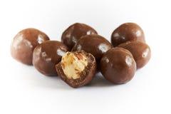 Chocolate balls filled with hazelnuts stock photo