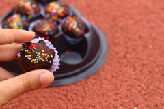 The chocolate balls on ground Stock Photo