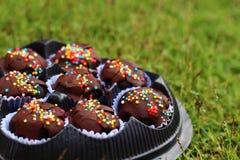 The chocolate balls on ground. The chocolate balls yummy on underground Royalty Free Stock Image