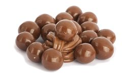 Chocolate balls isolated on white royalty free stock images