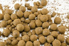 Chocolate balls on white Royalty Free Stock Images