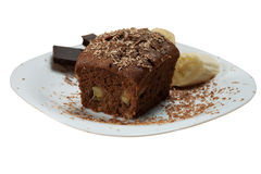 Chocolate and banana cake Royalty Free Stock Image