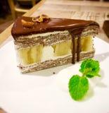 Chocolate banana cake. Chocolate banana crape cake Royalty Free Stock Image