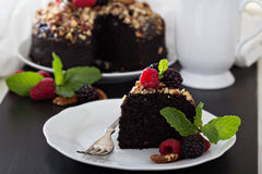 Chocolate banana cake with nuts Royalty Free Stock Images
