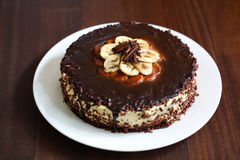 Chocolate and banana cheesecake with ganache Stock Photography