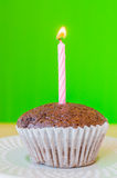 Chocolate banana cupcake. With green background Stock Images