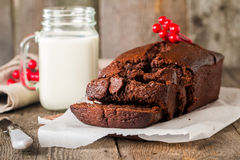 Chocolate-banana Loaf cake on paper Royalty Free Stock Image