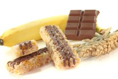 Chocolate banana muesli bar Stock Photos