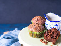 Chocolate banana muffins with sugar topping Royalty Free Stock Images