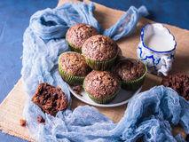 Chocolate banana muffins with sugar topping Stock Images