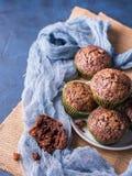 Chocolate banana muffins with sugar topping Stock Photo