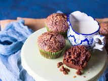 Chocolate banana muffins with sugar topping Royalty Free Stock Photo