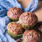Chocolate banana muffins with sugar topping. Square Stock Images