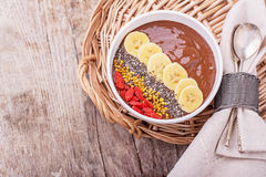 Chocolate banana pudding garnished with bee pollen Royalty Free Stock Photo