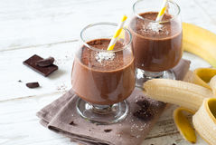 Chocolate banana smoothie Royalty Free Stock Photo
