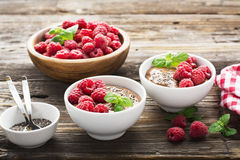 Chocolate Banana Smoothies served fresh juicy ripe raspberries with a sprig of mint in portioned bowls on  wooden Royalty Free Stock Images