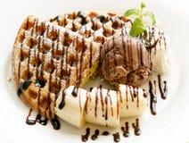 Chocolate banana waffle Stock Image