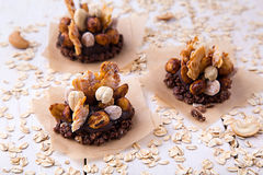 Chocolate banana and wheat granola raw healthy sweet snack Royalty Free Stock Photography