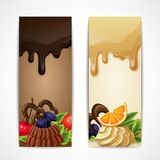 Chocolate banners vertical Royalty Free Stock Image