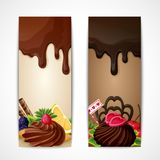 Chocolate banners vertical. Sweets dessert food milk and dark chocolate fruits and nuts banners vertical vector illustration Stock Photos