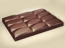 Chocolate bar. 3d visualization of chocolate bar stock illustration