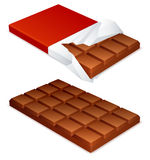 Chocolate bar. Wrapped and unwrapped chocolate bar Royalty Free Stock Image