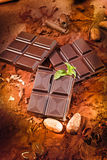 Chocolate bar. Different chocolate bars and cocoa and mint Royalty Free Stock Photo