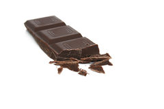 Chocolate bar. A chocolate bar with some broken pieces Stock Image