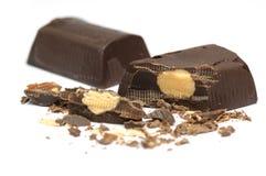 Chocolate bar and almond Stock Image